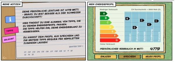 nics persönliche Energie-Bilanz berechnet mit dem Energie-Spiel der Stadt Zürich: