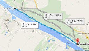 Von Schnakenburg nach Tesperhude – Screenshot google maps