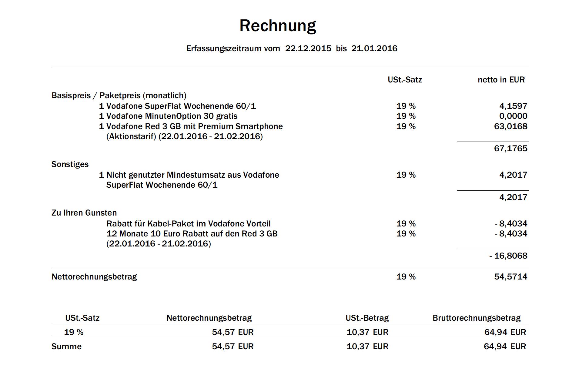 Vodafone Rechnung