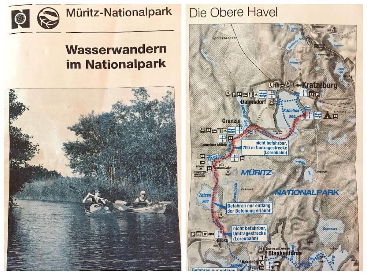 Wasserwandern Müritz-Nationalpark Karte