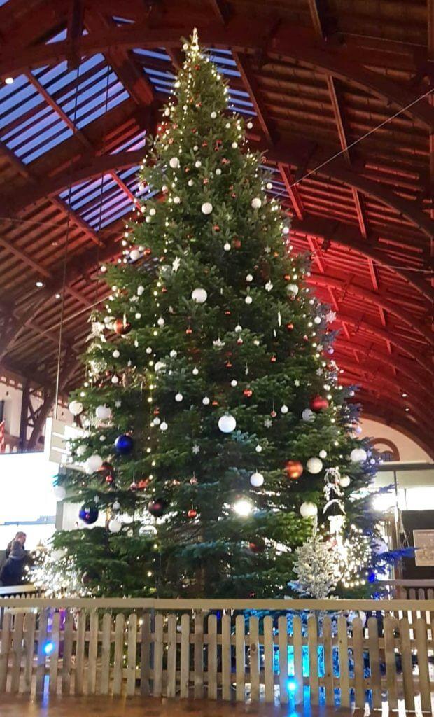 Weihnachtsbaum im Hauptbahnhof von Kopenhagen – Foto: Nicole Stroschein