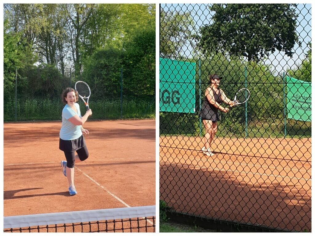 Tennis-Beweisfotos – fotografiert von Karen und Lara